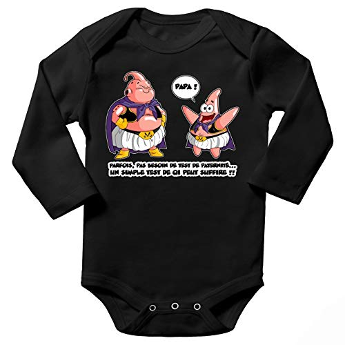 Baby-Body lange mouwen zwarte Dragon Ball Z – Spongebob Sponge Bubou Aka Majin BOU en Patrick: zoals vader als zoon Dragon Ball Z spons hoofd