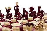 Great KINGDOM Juego de ajedrez de madera hecho a mano de 35 cm / 13,8 pulgadas con borradores / damas / borradores (rojo)