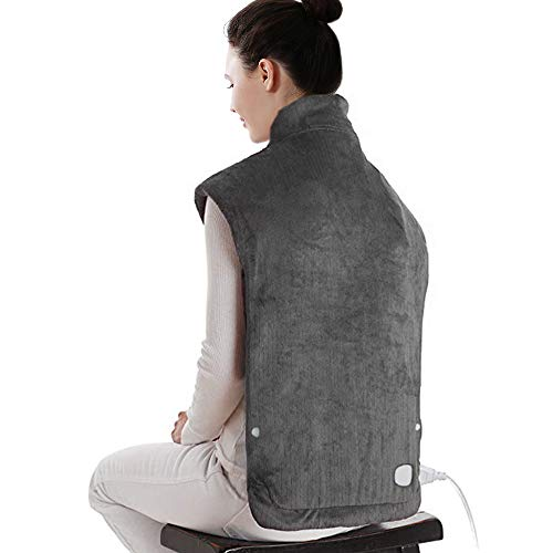 "XXX-Large Electric Heating Pad for Neck and Shoulders, Heating Pad for Back Pain with Auto Off, 6 Temperature Settings, Fast Heating, 25"" x 32"", Dark Gray"