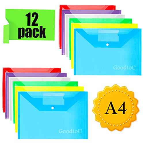 Dokumentenmappe Dokumententasche - 12 Stück Transparent Sammelmappe din A4 Mappen mit Druckknopf