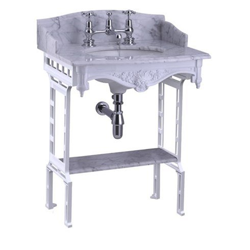 Burlington Carrera Marmorplatte und Waschbecken mit weißem Aluminium-Waschtisch