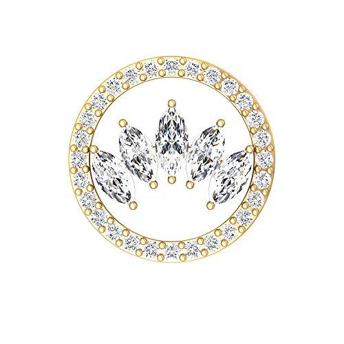 Pendientes de cartílago de diamante con forma de marquesa, certificado SGL de 0,97 quilates, pendientes de eternidad escalador, Oro amarillo Espalda plana, Única pieza 6mm