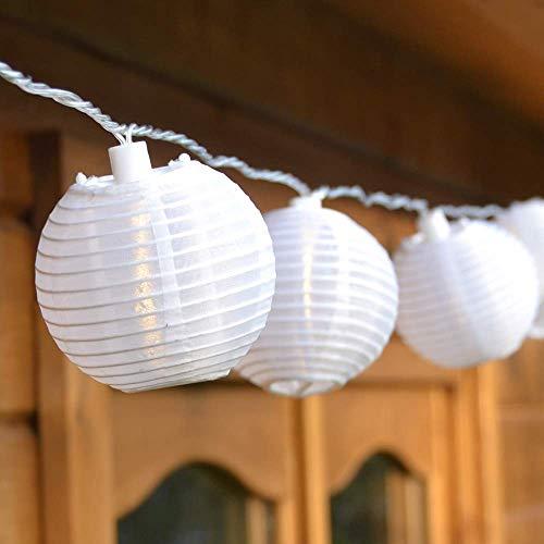 Guirlande Lumineuse de 20 Lampions Chinois Blancs Ø 7,5 cm à LED
