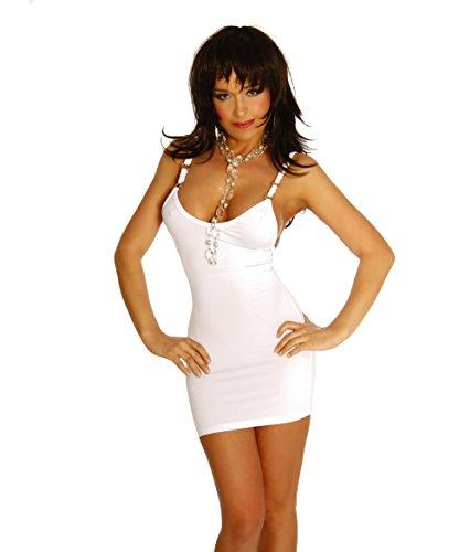 Unbekannt Minikleid Kleid V-Ausschnitt Einheitsgröße für S-M (Onesize) und XL-XXL - Schwarz, Rot oder Weiß, Weiß, S/M