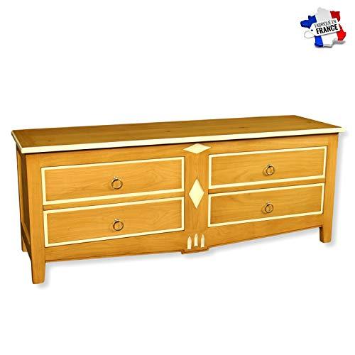 GONTIER TV-meubel garage – massief kersenhout – collectie Melanie – 100% gemaakt in Frankrijk 160x62x47 Merisier Latté et Laque Blanc-crème