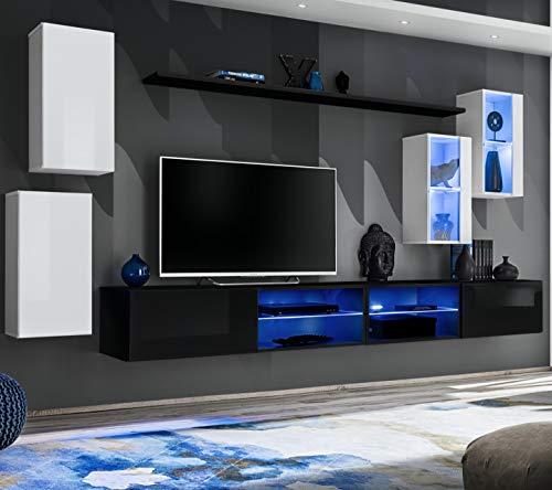 ASM SWITCH XXV Wandschrank, 280 cm breit, TV-Möbel, zwei Vitrinen, Glasschränke, Push-Click-Türen, LED-Lichter, Schwarz / Weiß Hochglanz