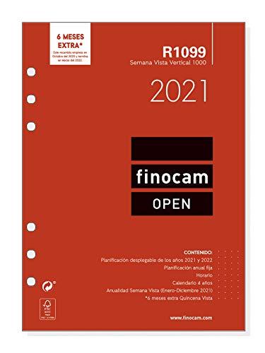 Finocam - Recambio Anual 2021 Semana vista vertical Open R1099 Español, 1000-155x215 mm