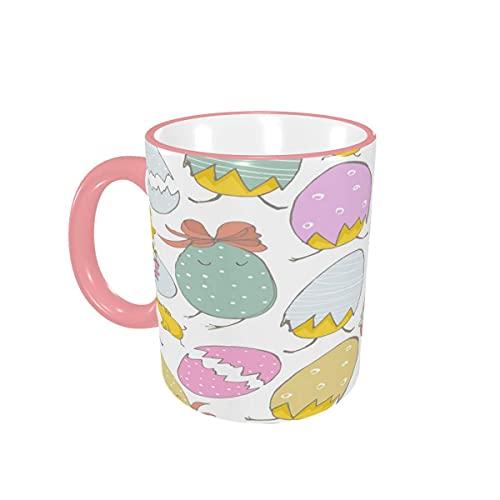 Taza de café Tazas de café con Huevos de Pollitos Dibujados a Mano Tazas de cerámica con Asas para Bebidas Calientes - Cappuccino, Latte, Tea, Cocoa, Coffee Gifts 12 oz Yellow