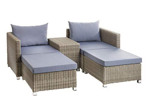 Kobolo Loungemöbel 2 Hocker 2 Sessel 4 Polster 2 Kissen 1 Tisch