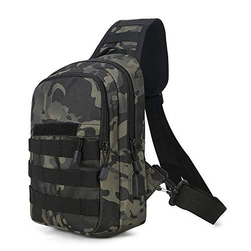 Huntvp Taktische Brusttasche mit Wasserflasche Halter, USB Anschluss Militärisch Schulterrucksack Molle Chest Pack Single Strap Rucksack für Sport Outdoor, Typ-4 Camouflage