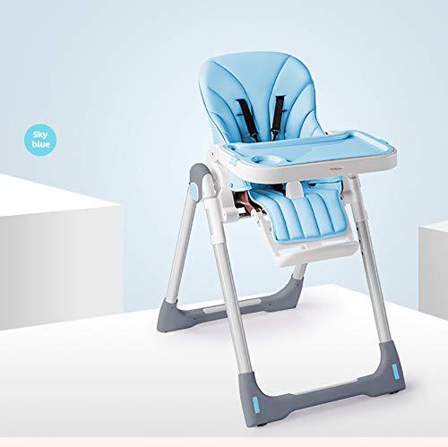 Coussin de Jambe bébé siège Haut Chaise de Salle à Manger Pliable Pratique et multifonctionnelle Convient aux Enfants de 6 Mois à 4 Ans-Blue