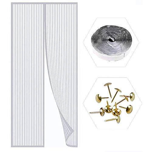 ZXPYZ Fliegengitter Tür Magnetisch Insektenschutz, Magnetvorhang HäNde Frei, Moskitonetz Magnetverschluss, Verschiedene Größen, Schiebetür Terrassentür,Weiß,120×230cm(47×91inch)