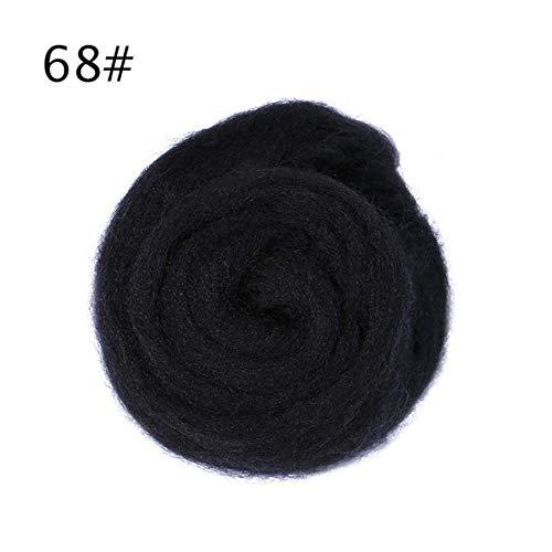 BTKNOO 50g 26 Farben Materialien Weiche Mischfarben Gefärbte Filzwolle Tops Roving Wollfaser Handspinnen für Nadel DIY Puppe, 68