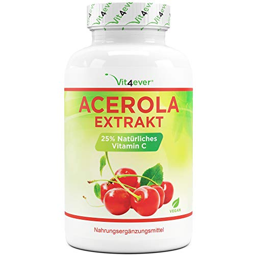 Cápsulas de Acerola - Vitamina C natural - 240 cápsulas veganas - Preimum: Altamente dosificado con 1500 mg de extracto de acerola por dosis diaria - Sin aditivos indeseables - Vegan