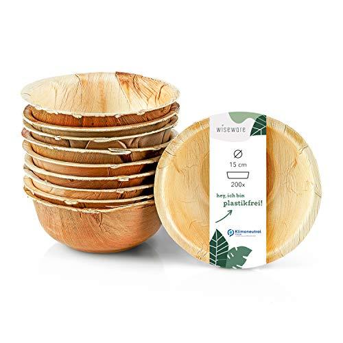 Wiseware - Cuencos desechables (200 unidades, 15 cm de diámetro, platos de hoja de palma biodegradables, platos compostables, platos desechables ecológicos (200, 15 cm de diámetro)