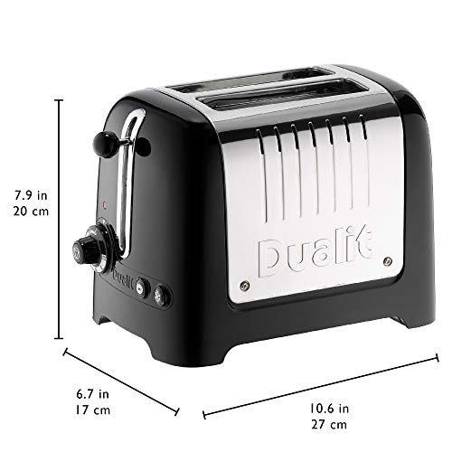Dualit 2 Slice Lite Toaster | 1.1kW Toasts 60 Slices an Hour | Polished with High Gloss Black Trim | Bagel & Defrost Settings | 36 mm Wide Slots | 26205