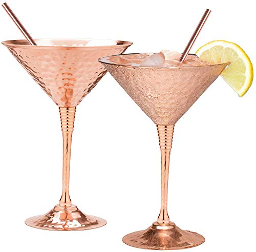 Copper martini glasses set of 2 by Mosscoff - 9.5oz Hand hammered solid copper goblets with exquisite reinforcement ring. - Bonus pure copper straws - A gift set no one can resist.