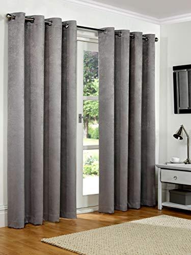 SW Living 90' x 108' (228x274cm) Silver Grey Soft Woven Embossed Thermal Blackout Ring Top Eyelet Heavy Pair Curtains Lined