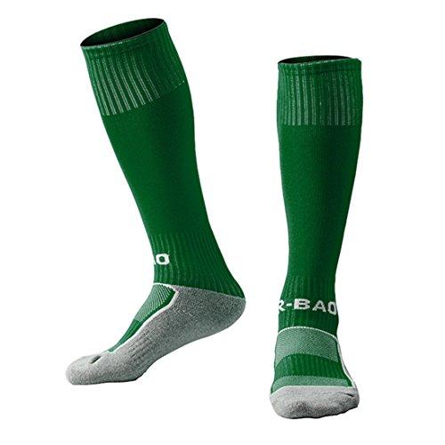 Yohope Unisex Kniehohe Gestreifte Sport Fußball / Fußball / Hockey Rohr Baumwolle Socken für Kinder 8-13 jahre (dunkelgrün)