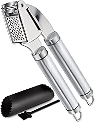 orblue garlic press stainless steel mincer and crusher with garlic rocker