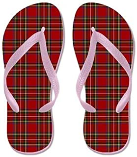 Royal Stewart Tartan Flip Flops for Kids Adult Beach Sandals Pool Shoes Party Slippers Black Pink Blue Belt for Chosen