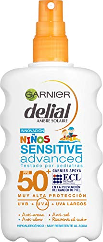 Garnier Delial Niños Sensitive Advanced - Spray Protector Solar para Pieles Claras, Sensibles e Intolerantes al Sol, IP50+  - 200 ml