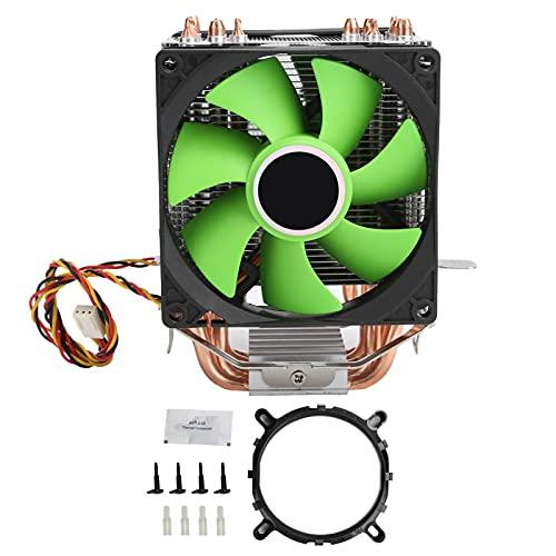 Deror Ventilador de refrigeración de CPU, Enfriador de CPU de 9 cm, radiador de Ventilador Doble de 3 Pines Apto para Intel LGA775/1155/1156/1366 AMD AM2/AM2 +/AM3
