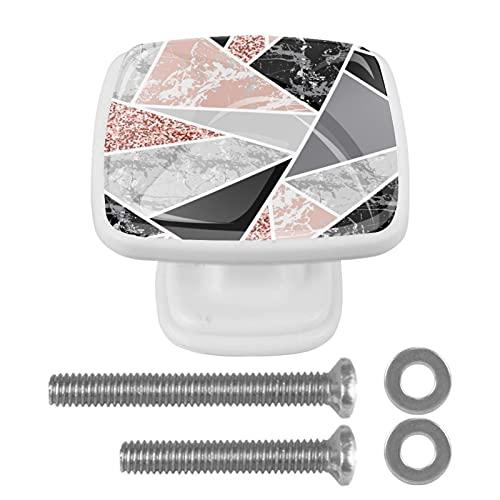 Perillas de gabinete 4 pcs Round Knobs Knobs Tiradores de puerta de de con tornillos para la cocina de cajón de gabinete,Formas geométricas y brillo rosa.