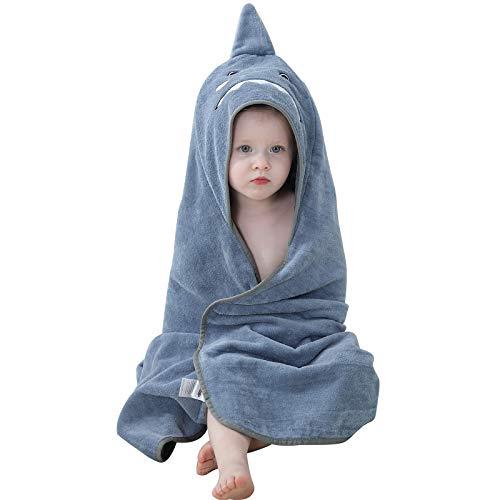 MICHLEY Toalla Baño Bebe 90cm*90cm Algodón Toalla infantil con Divertida Capucha para 0-6 años Niño y Niña Gris