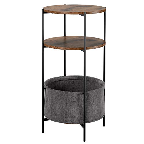 Homfa Coffee Table Round End Table 3 Tiers Side Table Bedside Table Vintage Nightstand with Removable Storage Basket 42.5x42.5x80cm (1 Set)