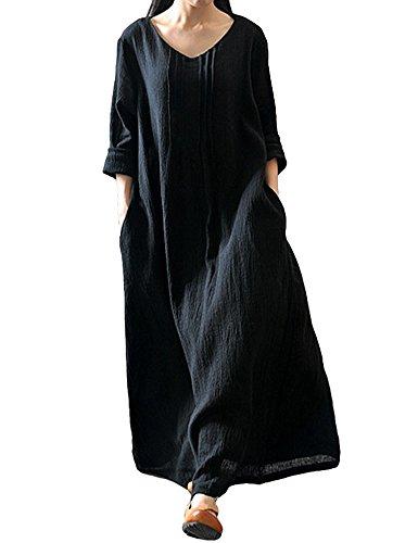 Romacci Damen Beiläufige Lose Kleid Langarm Baumwolle Boho Maxi Kleid (Schwarz, XL)