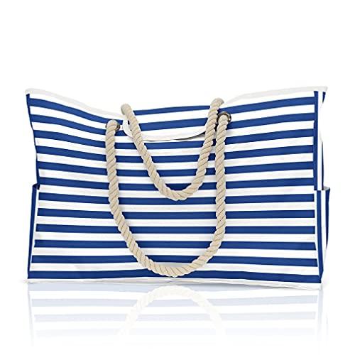U-Kiss Gran bolsa de playa 100% impermeable, extra grande (17 x 15 x 7 cm), para mujer, cierre magnético superior, bolsillos exteriores, asas de cuerda., color Azul, talla 43x38x18