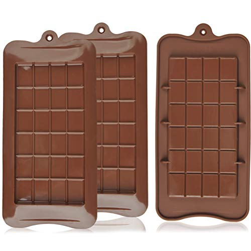 THETHO 3 PCS Moule Chocolat en Silicone Antiadhésif Moule à Chocolat pour Confection de Chocolats Tablette Moule Alimentaire pour Barre Energétiques Protéinées Glaçons Bonbons Cuisine Pâtisserie
