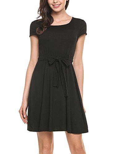 Zeagoo Damen Skater Jerseykleid A Linie Kurzarm Kleid mit Blumenmuster Gürtel Schwarz S