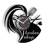 KDBWYC Herramientas de peluquería Reloj de Pared Retro Barber Center Lady Image Disco de Vinilo Reloj de Montaje en Pared Regalos para peluquerías y Tiendas Barbie
