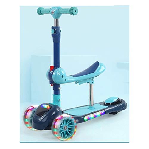 Dzwyc Scooter Una rotación de Teclas/Scooter Plegable para niños - Altura Ajustable con Cubierta Extra de Ancho PU Ruedas Intermitentes Grandes niños Scooter 3-14 años Patinetes (Color : Blue)