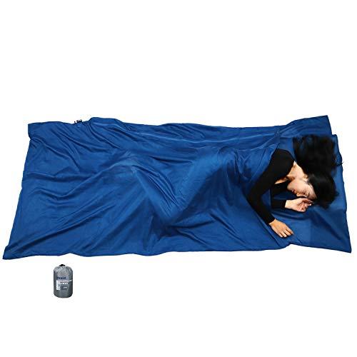 BROWINT Schlafsack Inlett aus Seide/Baumwolle, Reiseschlafsack mit Doppeltem Reißverschluss und Kissenfach, 220cm X 110cm Extrabreite Hüttenschlafsack für Hostels, Lnlay Leicht, Kompakt & Atmungsaktiv