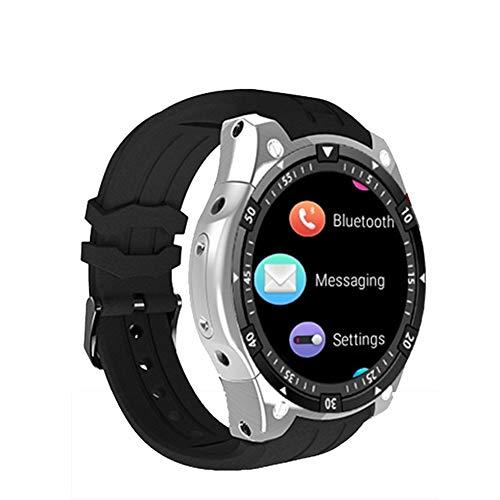 AIFSH wasserdichte Smart Watch, Herzfrequenz Detektor Bluetooth mit GPS-Fitness-Monitoring Touchscreen Pedometer Call Watch,Silver-OneSize