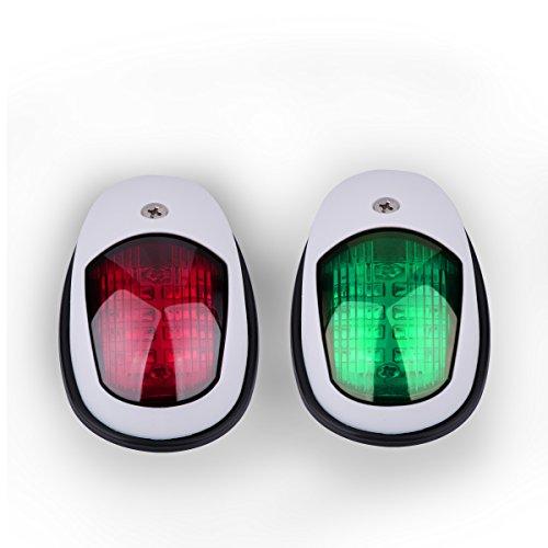 Boots Navigationslicht LED Navigations Lampe grün und rot Marine LED Steuerbord und Port Seitenlicht für Boots Yacht Skeeter DC 12-24V 2PCS Weiß