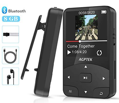 Bluetooth 4.2 8GB Mini Clip Mp3 Player tragbar(+ Sport Armband), Sport Musik Player mit FM, Unterstützt 128GB Micro SD Speicherkarte, von AGPTEK A58, Schwarz