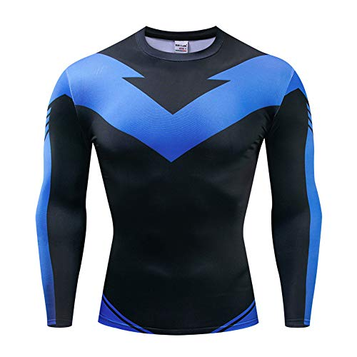 Uyebros Superhero Shirt Long Sleeves Compression Sports Shirt Running Tee Cosplay Costume (XL, N-Wing)