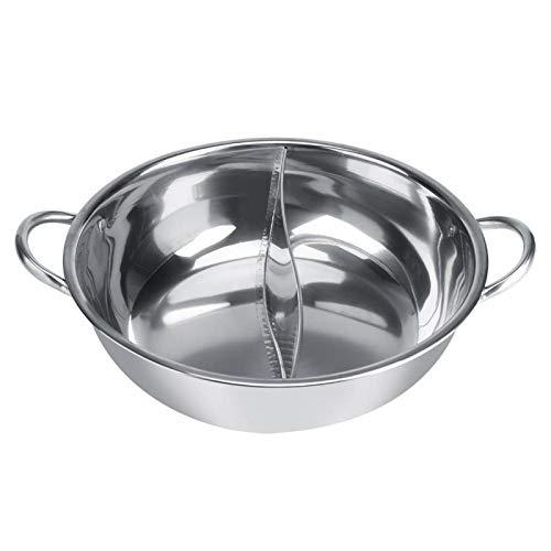 Olla caliente de acero inoxidable de 27/29/31 CM de espesor, ollas calientes de dos sabores adecuadas para cocinas de inducción Estufas de gas Hornos eléctricos Estufas de cerámica(32cm)