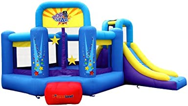 Bounceland Pop Star Inflatable Bounce House Bouncer, Large Bouncing Area with Long Slide, Climbing Wall, Basketball Hoop, UL 1HP Blower Included, 15 ft x 13 ft x 8.3 ft H, Pop Star Kids Party Theme