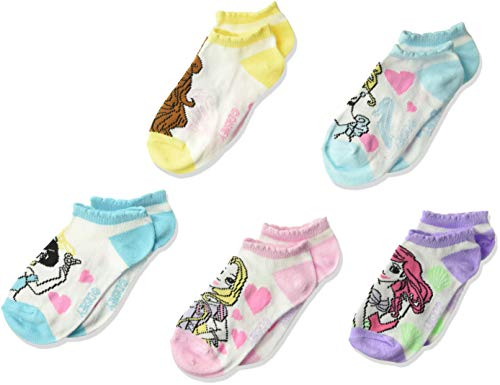 Disney girls Princess 5 Pack No Show Casual Sock, Pastel Assorted Big Face, Shoe Size 3-8 US