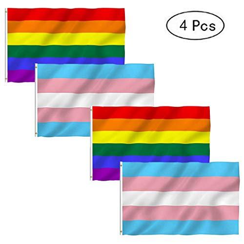 Fiyuer Bandera LGTB Grande 4 Piezas Bandera de Arco Iris 150 x 90 cm Bandera Arcoiris Grande para Desfile Gay y lesbiano, y decoración del hogar