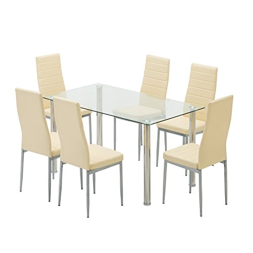 Mecor 7-Piece Glass Kitchen Dining Table Set, Glass Top Table with 6 Faux Leather Chairs Breakfast Furniture(Beige)