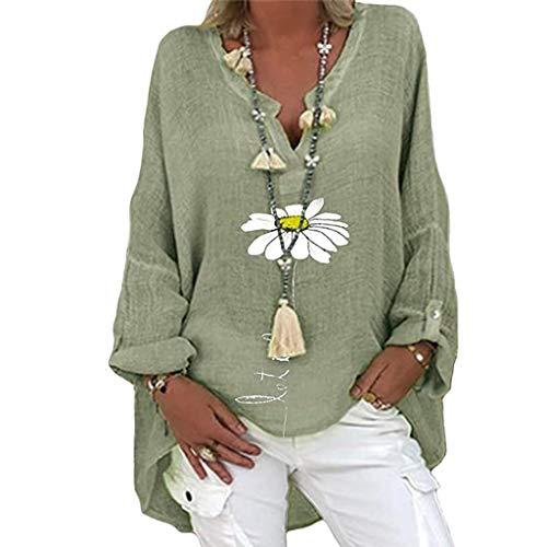 Yellsong Damen übergroße Leinenbluse Elegantes Hemdoberteil mit Blumendruck langes Hemdoberteil mit V Ausschnitt aus Leinen Lange lockere Lange Bluse (XL, Grün)