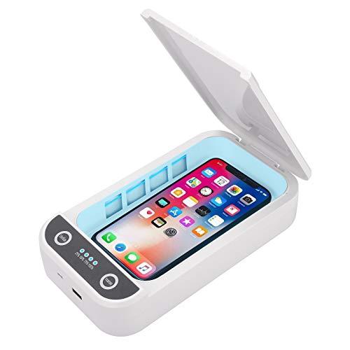 Esterilizador UV para teléfonos móviles, limpiador UV portátil 99,9% Caja de esterilización Función de aromaterapia Desinfectante para llaves, cepillo de dientes, joyas, relojes, chupetes.