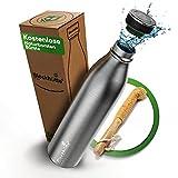 Blockhütte. Trinkflasche Edelstahl isoliert I 350ml, 500ml, 750ml, 1L I mit Naturborsten - Flaschenbürste | Thermosflasche spülmaschinenfest & Kohlensäure geeignet | Isolierflasche, Kinder (750 ml)