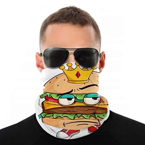 Diademas para hombres, mujeres, polaina para el cuello, mascarilla, diadema, bufanda, personaje de dibujos animados de King Burger, sosteniendo un turbante con bastón, bufanda múltiple, estampado de